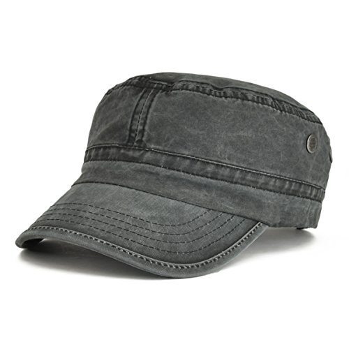 VOBOOM Washed Cotton Military Caps Cadet Army Caps Unique Design (Black)