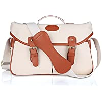 Kattee Unisexs PU Leather Canvas DSLR Camera Shoulder Bag