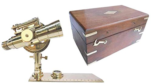 20 CM. ANTIQUED BRASS FOLDING TRANSIT THEODOLITE/ ALIDADE LEVEL WITH SHESHAM CASE