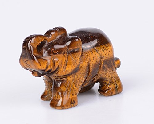 OCN-HEALING 4cm Natural Crystal Crafts Collection Gemstone Elephant Figurines Holiday Home Office Statue Décoration Christmas Birthday Business Gifts (Tiger's Eye) (Figurine Holiday Decoration)
