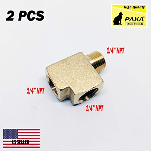 Solid Brass Street Pipe Tee 1/4' NPT Male X 1/4' NPT Two Female air Fuel (2 PCS