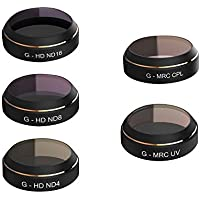 N.ORANIE DJI Mavic Pro 5 Pieces Filter Set Includes UV / CPL / ND4 / ND8 / ND16 with High Definition Great Transparency Protective Cover Cap Shell for Mavic Accessories