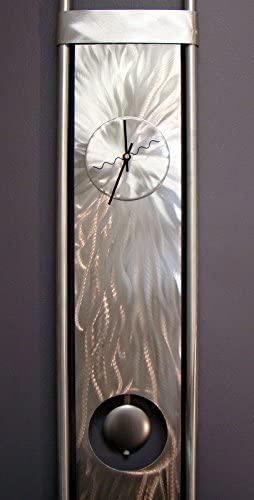 Statements2000 Silver Abstract Metal Clock – Functional Art – Pendulum Abstract Wall Timekeeper – Vortex Clock by Jon Allen – 48-inch