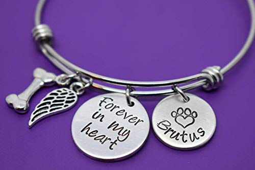 (Pet Memorial Jewelry Gift - Dog Memorial Bracelet - Pet Loss Gift - Forever in my Heart - In Memory of Dog. Personalized Dog Remembrance)