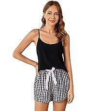 SweatyRocks Women's Sleepwear Set Tropical Print Cami Top and Elastic Waist Short Pajama Set