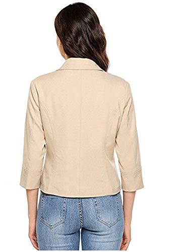 Manica Donna Monocromo Fashion Cappotto Outwear Slim Tailleur Eleganti Giacca Libero Blazer Tempo Primaverile Bavero Autunno Fit 4 3 Business Da Corto Aprikose Ufficio rwzrxIqU5