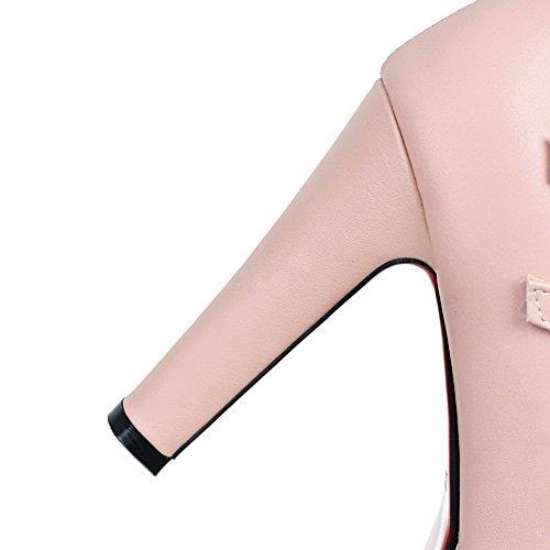 AllhqFashion Damen Weiches Material Rund Zehe Hoher Absatz Schnalle Rein Pumps Schuhe Pink