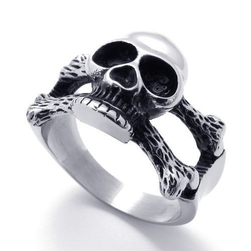 Aooaz Mens Ring Stainless Steel Ring Biker Silver Black Evil Skull Death S Head Crossbone Vintage (Deaths Head Ring)