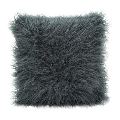 Faux Mongolian Poly Filled Throw Pillow (Slate, 18x18) by AZ Home