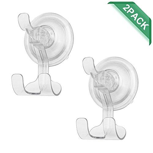 Price comparison product image ilikable 2 Pack Suction Hook Shower Clear Bathroom Vacuum Suction Cup Hooks Razor Holder for Bathroom Bath Towel Loofah Sponge