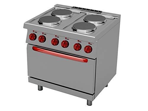 Cocina electrica profesional 4 planchas con horno linea 900 ...