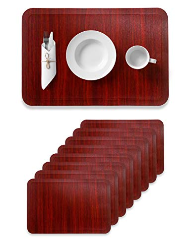 Alpiriral Dining Place Mats Set of 8 Heat Resistant Place Mats Easy to Wipe Off Scrub Vinyl Place Mats Washable Table Mats Protect The Table from Messes & with A Nice Looking in RED