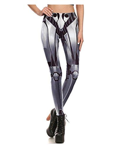 Dorathy Women 3D Printed Iron Metal Armour Legins Robot Leggings Pant