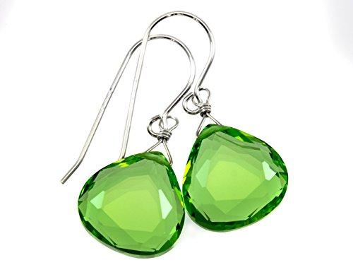 Sterling Silver Deep Green Simulated Peridot Earrings Faceted Heart Teardrops Simple Briolette Dangle - Briolette Heart