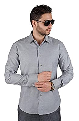 New Men's French Cuff Tailored Slim Fit Spread Collar Dress Shirts By Azar Man