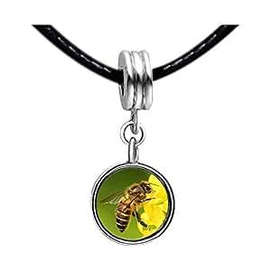 Chicforest Silver Plated Honeybee Gather Pollen Photo Light Amethyst Crystal June Birthstone Flower dangle Charm Beads Fits Pandora Bracelet