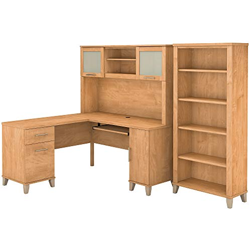 Bush Furniture Somerset 60W L Shaped Desk with Hutch and 5 Shelf Bookcase in Maple - Computer Maple L-shaped Desk