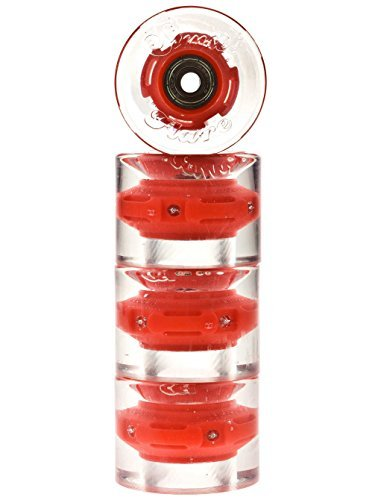 Sunset Skateboards Cruiser Wheel with ABEC-9 Bearing (4-Pack), Red, 59mm/78a ()