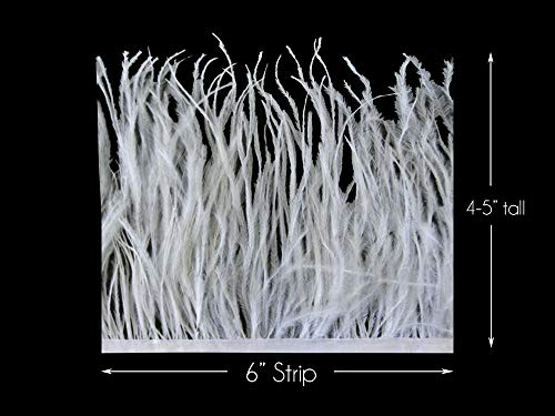 6 Inch Strip - Snow White Ostrich Fringe Trim Feather Craft Sample DIY Millinery Supply | Moonlight Feather]()
