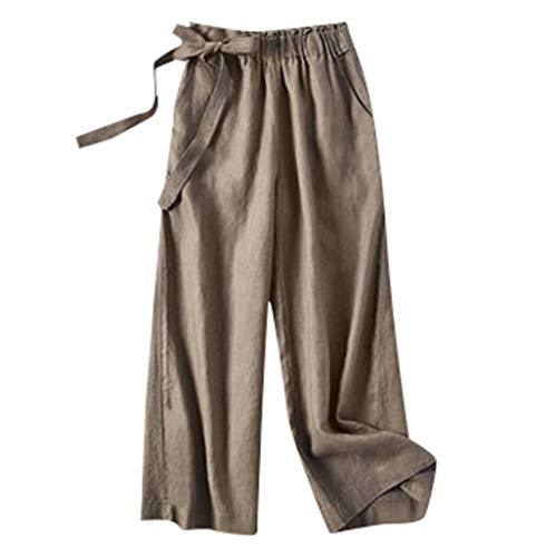 TIFENNY Cotton Linen Pants for Womens Elastic Waist Cropped Trousers Wide Leg Bottoms Sports Wear Sweatpants Khaki