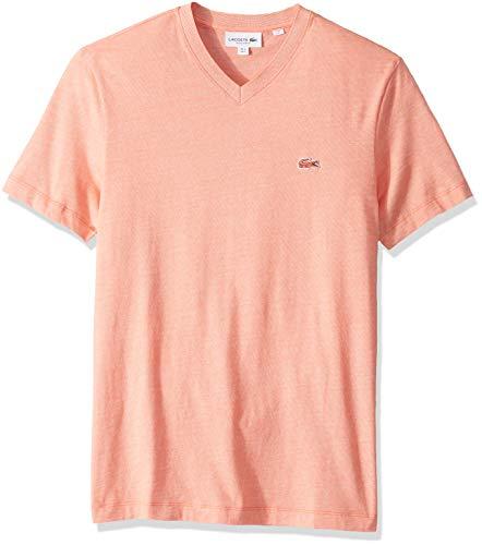 Lacoste Men's S/S Striped Jersey Raye T-Shirt Regular FIT, Dianthus/Flour, XXX-Large
