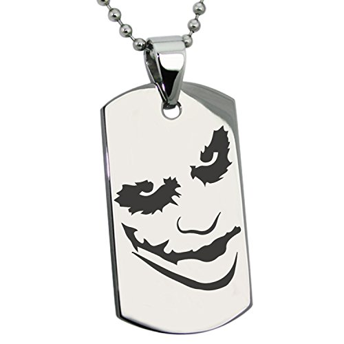 Joker Pendant (Stainless Steel DC Why so Serious? Joker Engraved Dog Tag Pendant Necklace)