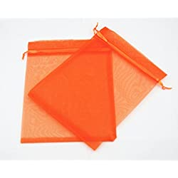 AEAOA 5x7 Inch Organza Bags Drawstring Wedding Favor Bags Organza Gift Pouches Bags for Wedding Jewelry Party (Orange)