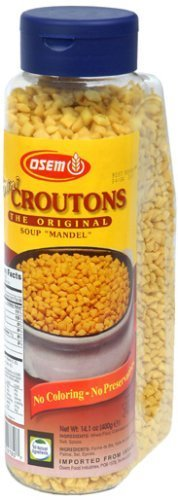 Osem Mini Mandel Croutons, 14.1-Ounce Canisters (Pack of 12) by Osem [Foods] by Osem