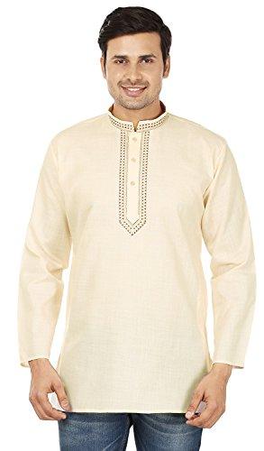Indian Clothing Fashion Mens Embroidered Short Kurta Cotton (Cream, XL) by Maple Clothing (Image #5)