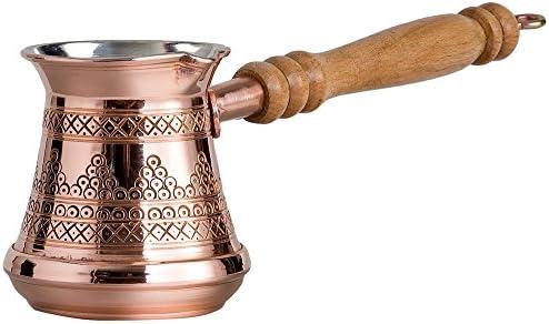 Cobre macizo turco griego griego árabe con grabado de primera calidad, cafetera Cezve Ibrik Briki con mango de madera, grosor 1,5 mm (mediano - 8 onzas): Amazon.es: Hogar