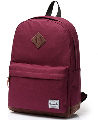 School Backpack for Teenagers,Unisex Classic Lightweight Water Resistant Campus Backpack for Girls Travel Backpack Fits 14-Inch Laptop Burgundy by Vaschy