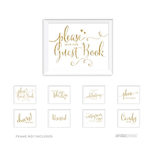 Andaz Press Wedding and Event Unframed Party Signs, Gold Glitter, Please Sign Our Guestbook Set, 8.5x11-inch, 8-Pack, Not Real Glitter