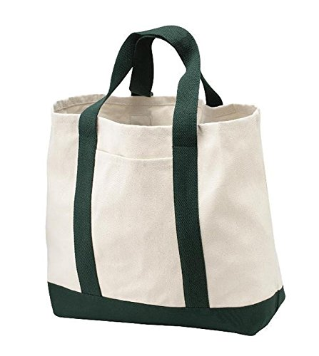 Pack of 3 - Heavy Duty Cotton Canvas Twill Travel Tote Bags Large Thick Reusable Blank Tote Bags - Shopping Grocery Bags Eco Friendly Canvas Bags in Bulk (Canvas Tote Bag Green)