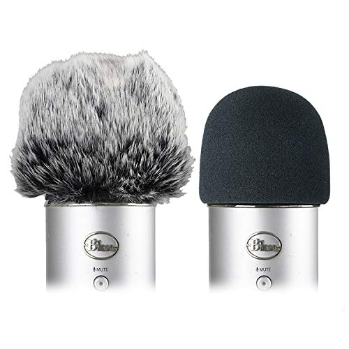 - Foam Microphone Windscreen with Furry Windscreen Muff - Mic Wind Cover Pop Filter for Blue Yeti, Blue Yeti Pro USB Microphone (2 Pack)
