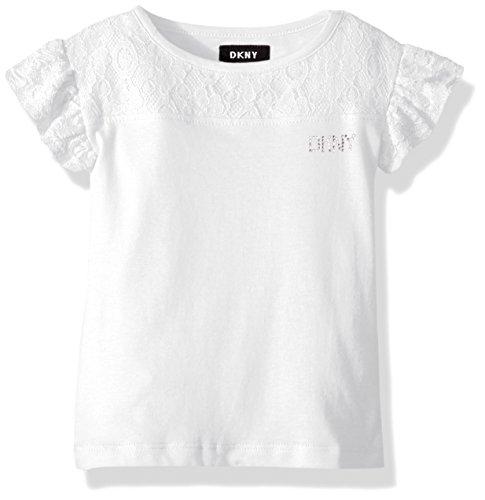 - DKNY Little Girls' Short Sleeve T-Shirt, Flutter Sleeve Lace Yoke White, 4