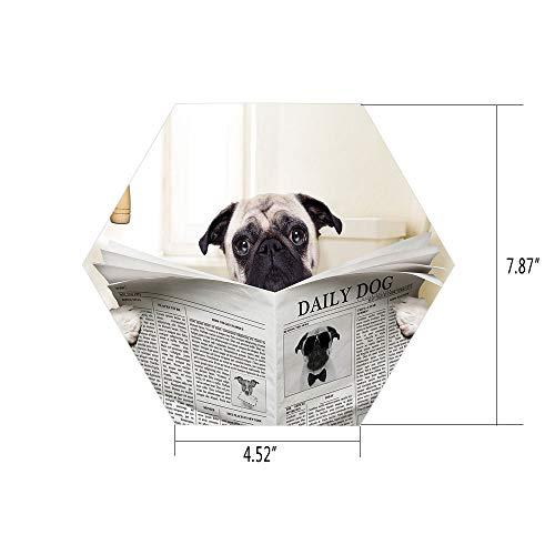 PTANGKK Hexagon Wall Sticker,Mural Decal,Pug,Puppy Reading The Newspaper on The Toilet Bathroom Funny Image Pug Joke Print,Cream Black White,for Home Decor 4.52x7.87 10 -