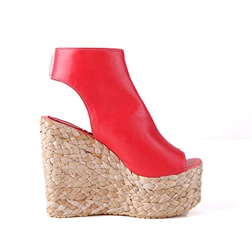 Red And Womens Loop Hook Heels Soft AllhqFashion High Peep Sandals Material Solid Toe 7qww6z