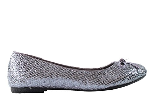 Jenifer-33 Mujeres Ballet Flats Zapatos, Peltre