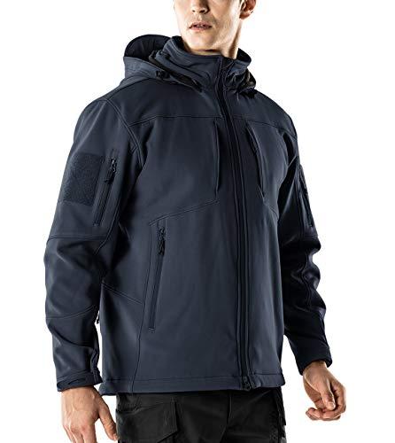 - CQR CQ-HOK801-NVY_Medium Men's Tactical Softshell Detachable Hoodie Hiking Hunting EDC Lightweight Fleece Coat Jacket HOK801
