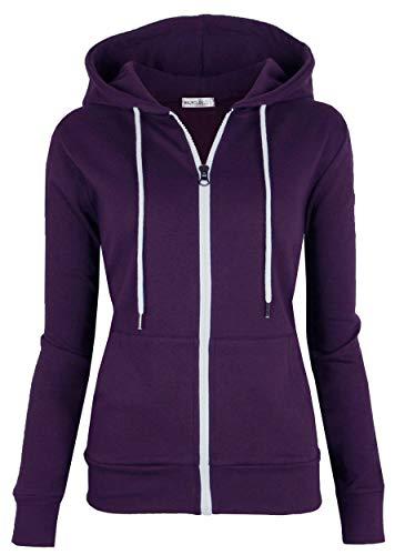 MAJECLO Women's Casual Full-Zip Hooded Lightweight Long Sleeve Sweatshirt(Small, Purple) (Purple Women Sweatshirt)