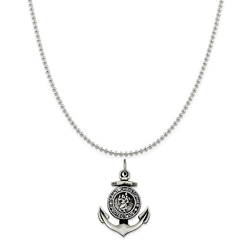 Sterling Silver Antiqued Satin St Christopher Anchor Medal Pendant on a Sterling Silver Ball Chain Necklace, ()