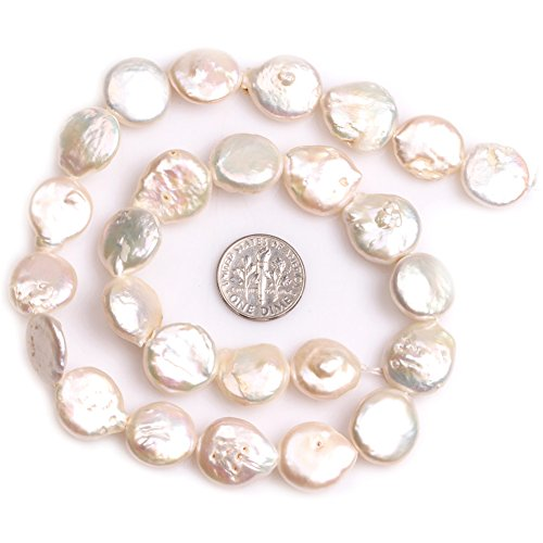 (Freshwater Cultured Pearl Beads for Jewelry Making Natural Gemstone 15x18mm White Coin 15