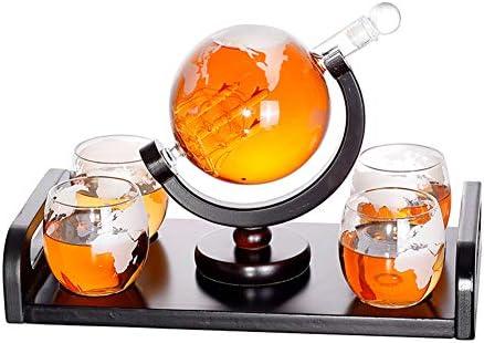 MSQL Whisky Decanter Globe Set con 4 Vasos con Grabado Mundial Soporte y manijas de Madera Barco Antiguo - Juego Licor, Whisky, borbón, Vodka