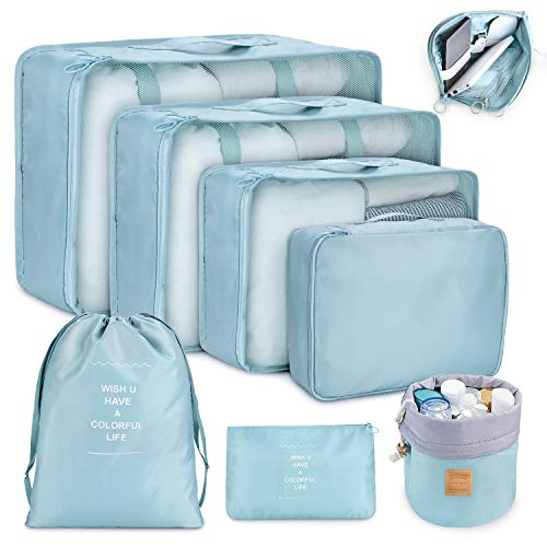 Packing Cubes for Travel, 8Pcs Compression Travel Cubes Set Foldable Suitcase Organizer Lightweight Luggage Storage Bag (Blue) ()