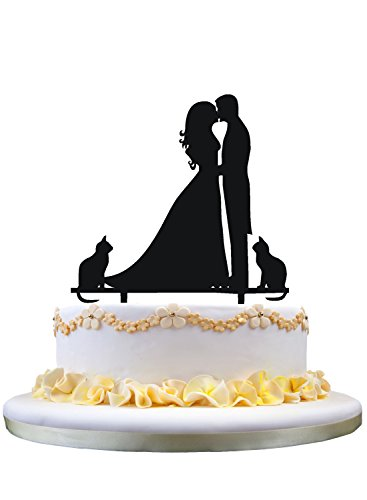 (funny cake topper - Silhouette Groom and Bride Kissing Couple and Cute two Cats)