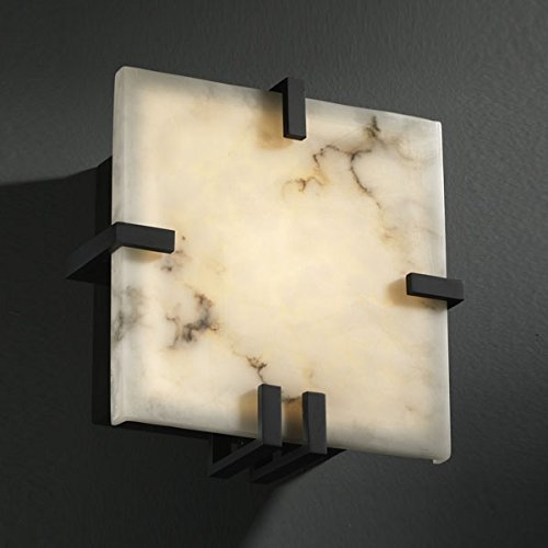 Justice Design FAL-5550-MBLK, LumenAria Clips Glass Wall Sconce Lighting, 1LT, 18 Watts Fluor, Black