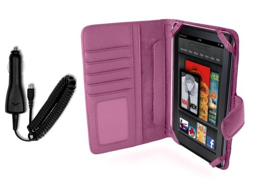 Napa Leather Flip Case (Navitech Genuine Pink Napa Leather Flip Open 7 Inch Book Style Carry Case / Cover & In Car Cigarette Charger for the Kindle Fire 7 Inch Amazon Tablet Android)