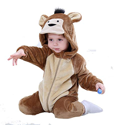 Tonwhar Baby Animal Bodysuit Halloween Costume (90 Ages 12-18 Months, Monkey)