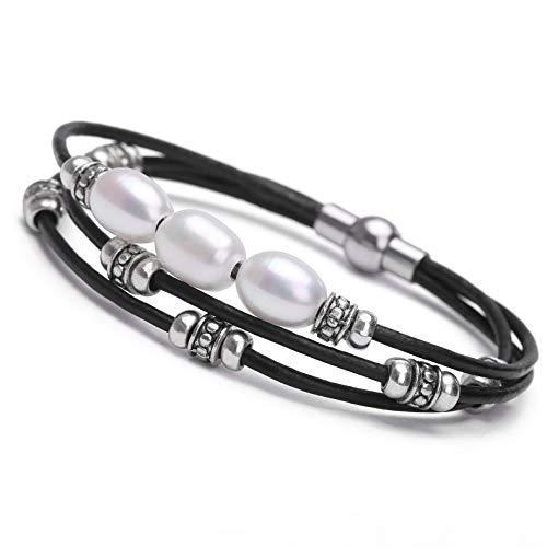 Cultured Freshwater Pearl Bracelet White Beads on Multi-strand Black Genuine Leather Cord Bangle DIY Charm Wrap Bracelet Handmade Beaded Jewelry for Women Girls