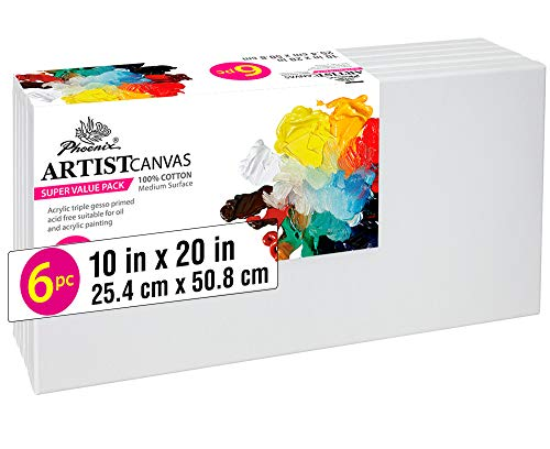 PHOENIX Pre Stretched Canvas for Painting - 10x20 Inch / 6 Pack - 5/8 Inch Profile of Super Value Pack for Acrylics, Oils & Other Painting Media